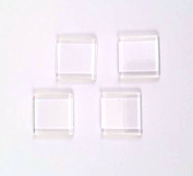 20 Deanna's Supply Shop Square flat Glass Cabochons - 1 inch - 25mm - Clear square Flat Cabs - 1