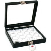 16 Gem Jars White Display Tray Glass Lid Travel Case
