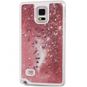 Galaxy Note 4 Case, NSSTAR [Liquid Case] for Samsung Note 4, Creative Design Transparent [Flowing Bling Glitter] Quicksand Stars Hard Plastic Transparent Case Cover for Samsung Galaxy Note 4