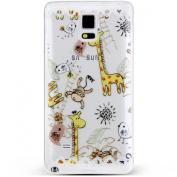 Note 4 Case, NSSTAR Galaxy Note 4 Case, [Perfect Fit] Soft TPU Crystal Clear [Scratch Resistant] White Lace Edge The Zoo Birds Monkey Giraffe Back Case Cover for Samsung Galaxy Note 4