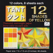 Japanese Tant Origami Paper- 12 Shades of Yellow/Orange 7.6cm Square