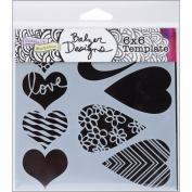 Crafter's Workshop Template 15cm x 15cm -Mix & Match Hearts