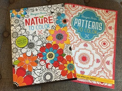 2 Adult colouring Books NATURE & PATTERS to Colour & - 20cm x 28cm - 32 Pages each - Meditation RELAXATION Therapy Therapuetic
