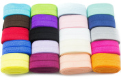 JLIKA Fold Over Elastic Stretch Foldover FOE Elastics for Hair Ties HeadBands Variety Colour Pack 20 Yards
