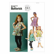 BUTTERICK PATTERNS B5877 Children's Girls' Top/Tunic Dress/Belt and Leggings Sewing Templates, Size CDD