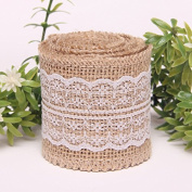 KINGLAKE® 2M Natural Jute Burlap Ribbon with Lace for Craft Rustic Wedding Belt Strap Craft Jute Hessian