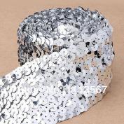 10 Yard Craft 5 Row Glitter Silver Craft Hand Beaded Trim Elastic Stretch Sequin Trim Lace Ribbon Trim Sewing Trim T6