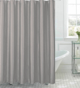 CHI Creative Home Ideas Jane Faux Silk Shower Curtain with Metal Roller Hooks, 180cm by 180cm , Silver