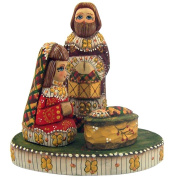 Small Wooden Hand Carved 11cm Nativity Set Russian Style Christmas Decoration
