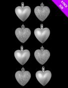 8 x 5cm Silver Matt + Glitter Heart Shaped Christmas Tree Baubles