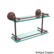 Que New 41cm Double Glass Shelf with Gallery Rail
