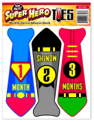 Baby Monthly Stickers Photo Prop | Super Hero Neck Tie for Boy | Also Use as Wall Decor or Shower Gift | First Year Growth Month Milestones Professional Decal Set for Onsies