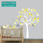 Fabric Tree Wall Decals, Yellow Baby Decor, Yellow Grey, Yellow Animal Decal