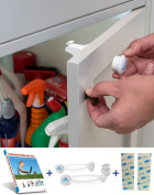 Child Safety Magnetic Cabinet Locks by Infantcity - 6 Locks + 2 Keys + 2 Multi Use Latches + 8 Extra 3M Adhesives + Ebook, Fits Most Cabinets & Drawers - No Drilling or Tools Needed - Easy Installation