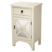 Cabinet with Single Drawer and Single Door with Mirror Insert