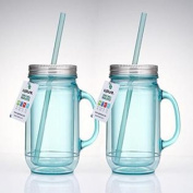 Cupture® 2 Vintage Blue Mason Jar Tumbler Mug With Stainless Steel Lid and Straw - 590ml