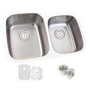 80cm Offset Double 60/40 Bowl Undermount Stainless Steel Kitchen Sink Combo