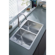 NationalWare Undermount Stainless Steel 80cm . Double Bowl Kitchen Sink in Stainless Steel