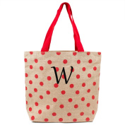 Monogrammed Red Polka-dot Natural Jute Tote
