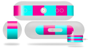 Psycho Stripes Neon Teal and Hot Pink Decal Style Skin - fits Beats Pill Plus