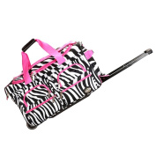 Rockland Deluxe Pink Zebra 60cm Carry-on Rolling Duffel Bag