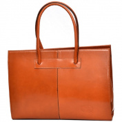 SHARO Apricot Italian Leather 41cm Laptop Tote Bag