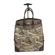 Canvas Bronze Metallic Zebra Foldable Rolling Carry-on 36cm Laptop/ Tablet Tote Bag
