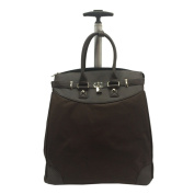 Classic Brown Microfiber Rolling Carry On 36cm Laptop/ Tablet Tote Bag