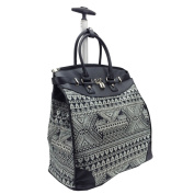 Aztec Black and White Foldable Rolling Carry-on 36cm Laptop/Tablet Tote Bag