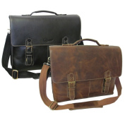 Amerileather Classical Leather Organiser Messenger Briefcase
