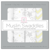 SwaddleDesigns X-Large Cotton Muslin Swaddle Blankets, Sterling Starshine, Set of 4