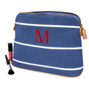 Personalised Blue Striped Cosmetic Bag