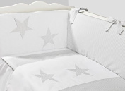 Vizaro - Cot Bumper, Duvet Cover and Pillow Case - 3 Pieces Set for COT BED 70x140 cm - 100% Premium Quality Luxury Cotton - Great Laced Star Collection - White & Grey Colours - Tested against harmful substances - Made in EU
