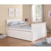 Full Sleigh Captains Bed with Twin Trundle and Storage Drawers in White