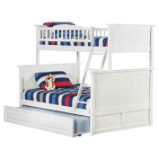 Twin Over Full Bunk Bed with Raised Panel Trundle Bed in White