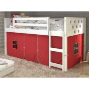 200cm . Twin Circles Low Loft Bed with Red Tent