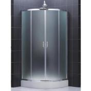 DreamLine DL-6152-01FR Prime 80cm by 80cm Frameless Sliding Shower Enclosure, Base and QWALL-4 Shower Back Walls