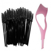 Disposable Eyelash Mascara Wands Brush Set - Black - FREE Mascara Shield Applicator Guard Guide Comb & Beauty eBook - High Quali