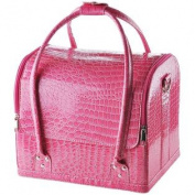 Pink Crocodile Makeup Train Bag Handbag Case w/ Removable Tray Cosmetic Jewellery