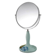 Continental Make-up Mirror 18cm Tabletop Two-Sided Cosmetic Mirror Blue