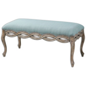 Uttermost 23190 Seating Kylia Furniture Benches ;Sky Blue with Chipped Paint Hardwood