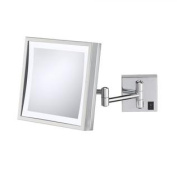 Kimball & Young Single-Sided LED Square Hardwired Wall Mirror - Polished Nickel