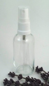 3 x 50ml Clear Glass Bottle with White Atomiser Mist Spray