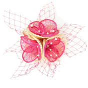 Chelsea Jones - Small Pink & Natural Tone Clip/ Pin Fascinator in Sinamay and English Net
