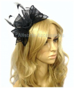 Allsorts Black Headband Aliceband Hat Fascinator Wedding Ladies Day Race Royal Ascot