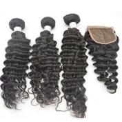 "Zenith Women's 3Bundles+1Closure Unprocessed Malaysian Virgin Remy Deep Wave Hair Extensions 3Pcs14"" 41cm 46cm and 1Pice R"