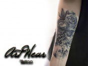 "Temporary Tattoo ""Over the Seas"" - ArtWear Tattoo Skull - B0206 M"