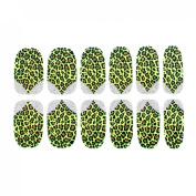 Black Brown Leopard Pattern Nail Wrap Foils Art Sticker Decorative Decals 12 Pcs