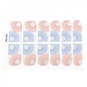 Women Blue Red Polka Dot Printed Nail Wraps Foils Art Stickers 12 Pcs