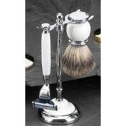 "Shaving Shave Set White Ceramic ""Mach 7.6cm Razor Badger Brush and Stand"